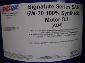 Amsoil synthetic 5W20 SS motor oil 208ltr
